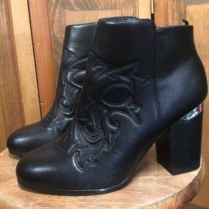 H&M Western Black Faux Leather Block Heel Booties